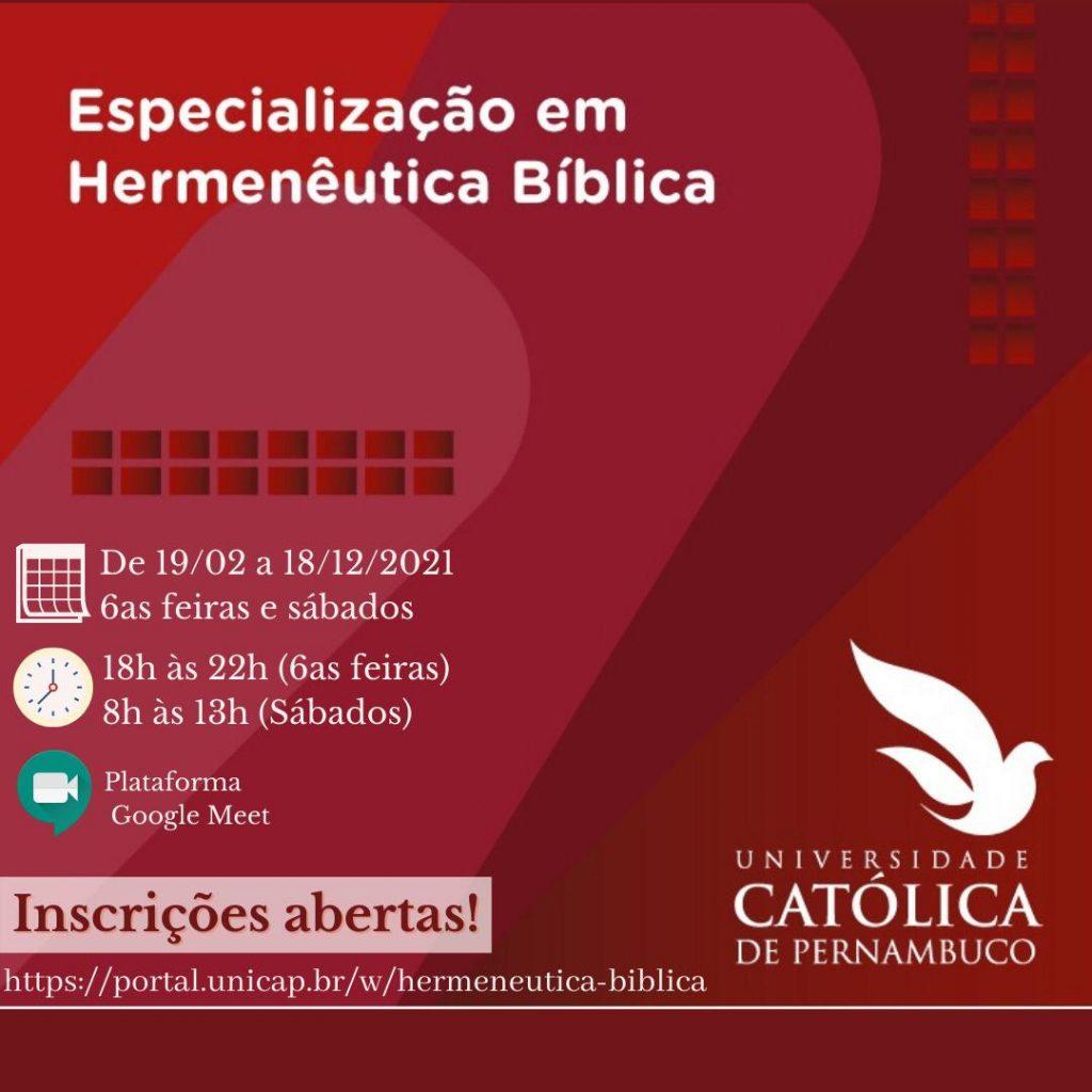 Especialização em Hermenêutica Bíblica na Universidade Católica de Pernambuco